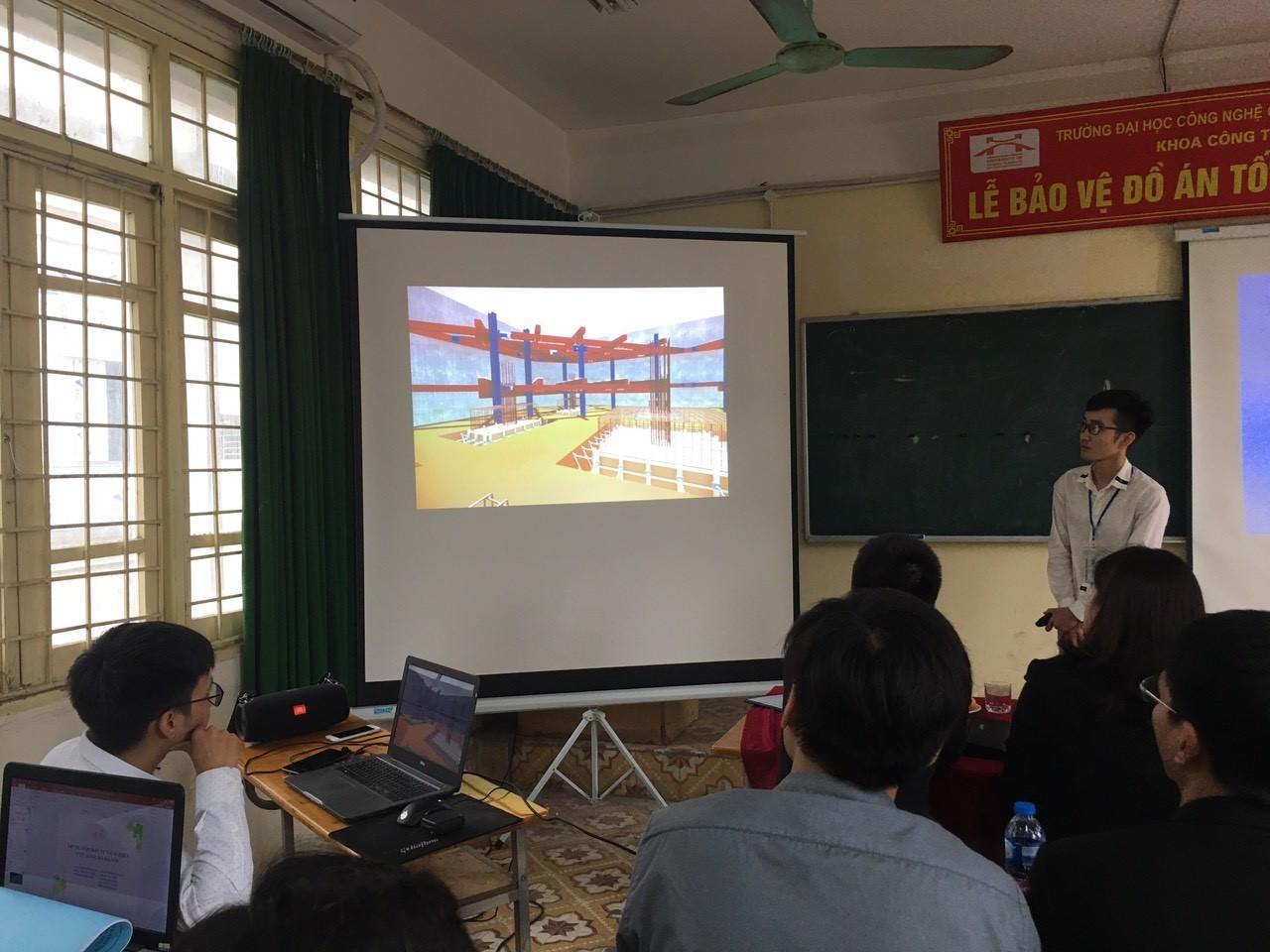 Sinh viên Khoa Công trình Ứng dụng công nghệ BIM trong đồ án tốt nghiệp